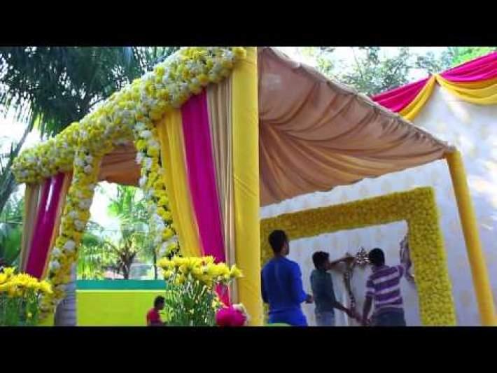 Haldi / Mehendi Wedding Decor @ Calicut by Yuvah Wedding Planners