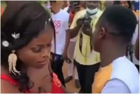 Reactions As Shy Bride Refuses To Kiss Her Husband On Wedding Day