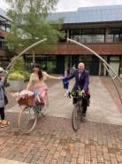 Worcester couple and wedding party cycle to venue for big day