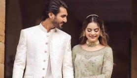 Minal Khan shares PDA-filled photos with Ahsan Mohsin Ikram ahead of wedding