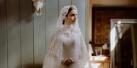 Here's a closer look at Lily Collins's wedding gown that was handcrafted for almost 200 hours