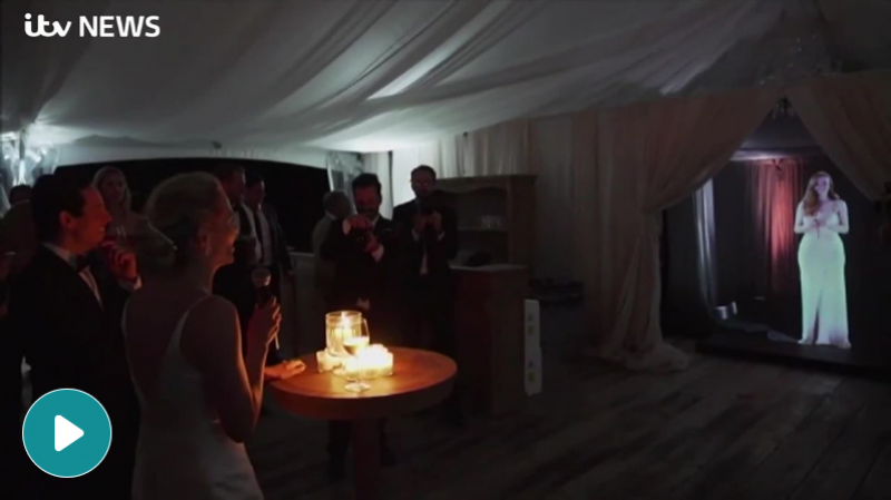 London bridesmaid wows wedding guests in Canada when she arrives as a hologram