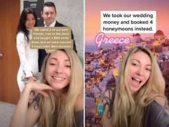 New York couple discarded plans for expensive wedding and spent the money on four honeymoons instead