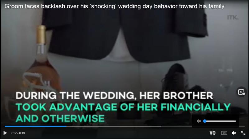 Groom faces backlash over his 'shocking' wedding day behavior toward his family