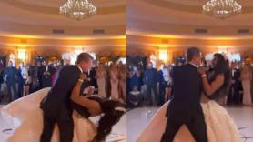 Falling in love! Bride and Groom fall on stage while dancing on their wedding day