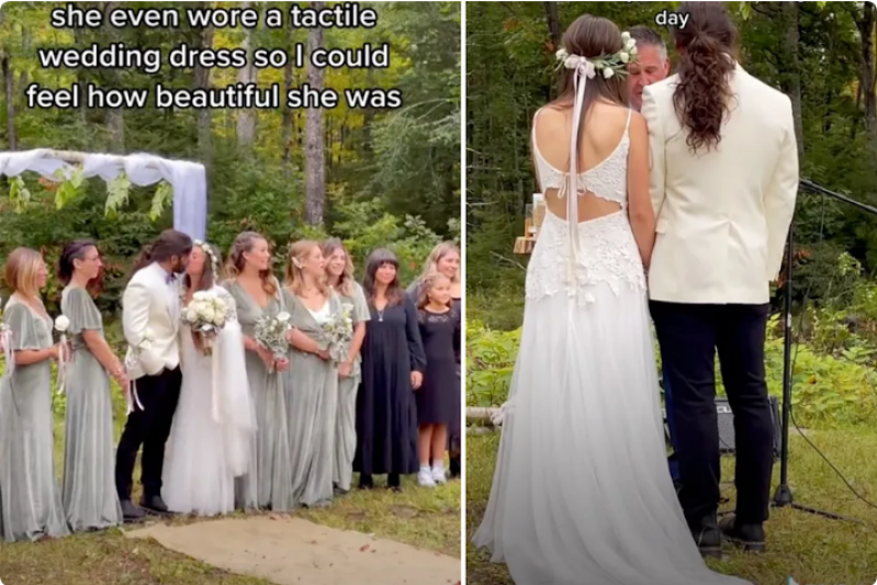 Incredible detail in bride's wedding dress for blind husband: 'Crying'